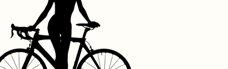 Panoramic studio shot, black color silhouette of woman posing with bicycle isolated on white background, white copy free space for motivational or advertisement text, sport and lifestyle concept Imagens
