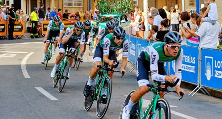 Torrevieja, Spain - August 24, 2019: Bicyclist racers take part on competition popular event of La Vuelta, one of the leading cycling races in international calendar 2019 starts in Torrevieja, Spain