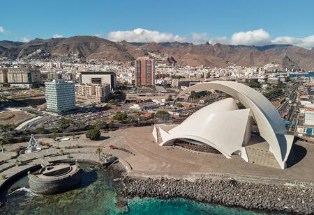 Aerial photography drone point of view from above modern architecture of Santa Cruz de Tenerife townscape, major city, capital of the island of Tenerife, Canary Islands, Spain Stock Photo