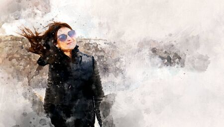 Digitally altered image watercolour picture woman smiles looks at camera, panoramic image background Reklamní fotografie