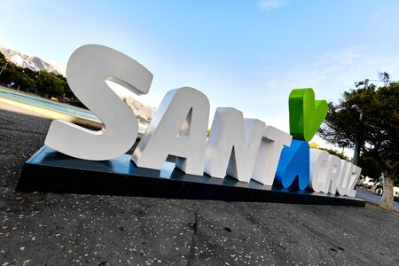 Huge white letters welcome sign to Santa Cruz de Tenerife resort city, spanish place for vacationers. Canary Islands, Europe, Spain
