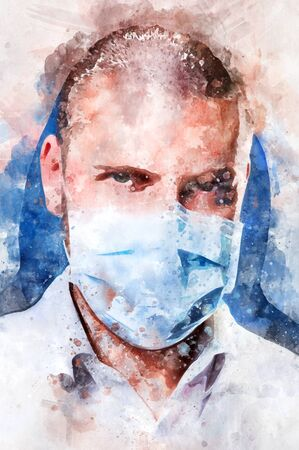 Digital watercolor painting close up portrait of caucasian confident male doctor face wearing blue mask looking at camera. Digitally altered photography, healthcare medical worker concept Reklamní fotografie