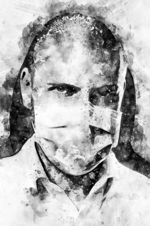 Digital watercolor painting close up portrait of confident male doctor face in protective mask looking at camera. Black and white, bw. Digitally altered photography, healthcare medical worker concept Reklamní fotografie