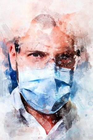 Digital watercolor painting close up portrait confident male doctor face wearing blue mask protective glasses, looking at camera. Digitally altered photography, healthcare medical worker concept