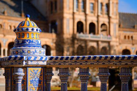 Close up view ceramic tiled railings blue white color architectural details of Plaza de Espana. Main landmark of Seville city. Andalusia. Spain