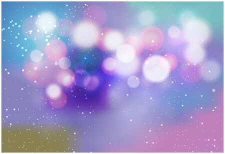 Blurred bokeh light on dark blue background. Christmas and New Year holidays template. Abstract glitter defocused blinking stars and sparks. Vector