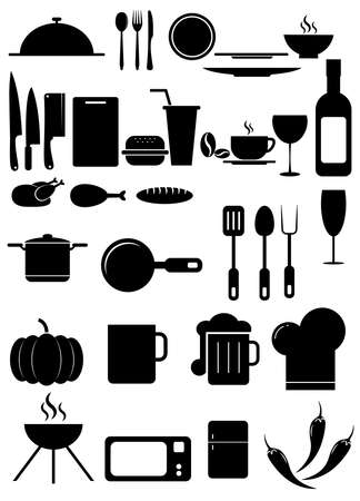 Set of black vector icons, isolated on white background.