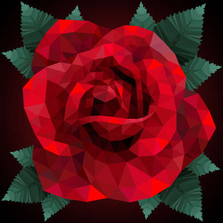 red rose: Romantic red rose heart for valentine day low poly style