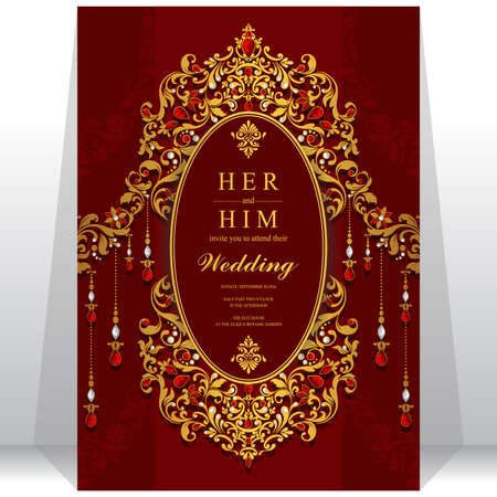 wedding ceremony: Wedding invitation or card with abstract background. Islam, Arabic, Indian, Dubai.