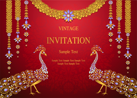 Wedding Invitation card templates with gold patterned and crystals on background color. Иллюстрация