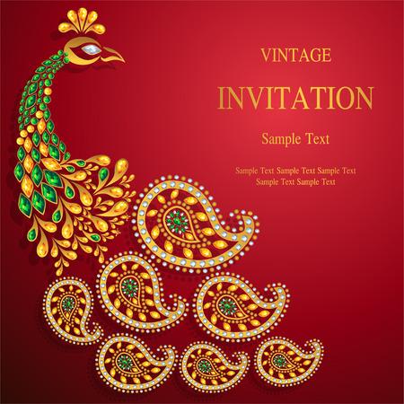 Modelli di carta di invito di nozze con motivi oro e cristalli sul colore di sfondo. Vettoriali