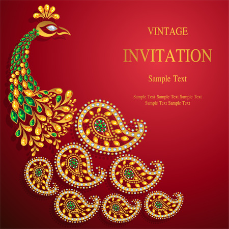 Wedding Invitation card templates with gold patterned and crystals on background color. Ilustracja