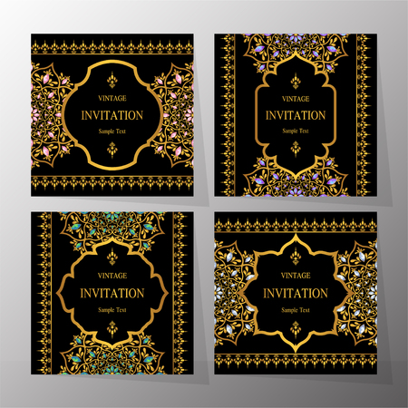 Wedding Invitation card templates with gold patterned and crystals on background color. Illustration