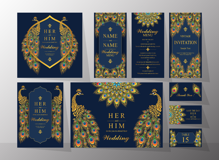 Wedding Invitation card templates with gold patterned and crystals on background color. Vectores