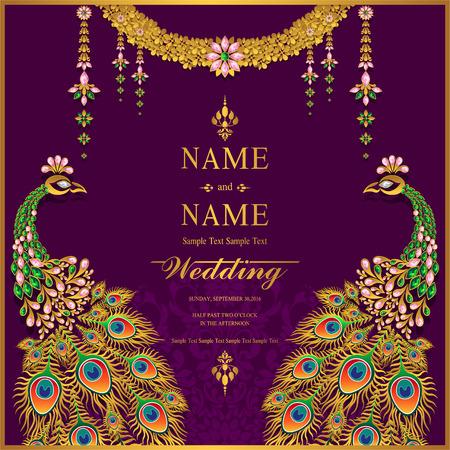 Modelli di carta di invito di nozze con motivi oro e cristalli sul colore di sfondo.