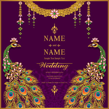 Wedding Invitation card templates with gold patterned and crystals on background color. Ilustrace
