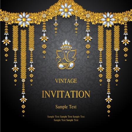 Szablony kart zaproszenie na ślub ze złotym wzorem i kryształy na kolor tła.