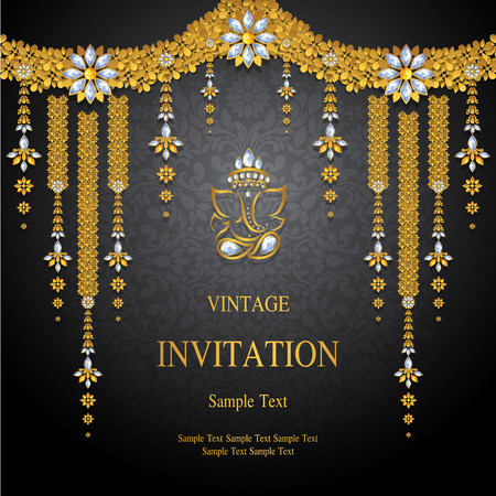 Wedding Invitation card templates with gold patterned and crystals on background color. Ilustração