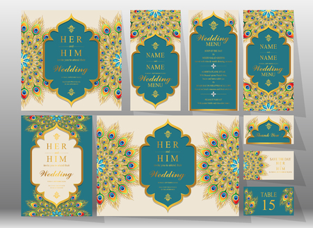 Decorated Invitation cards for a wedding.