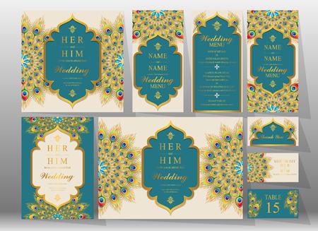 Versierde uitnodigingskaarten voor een bruiloft. Stock Illustratie