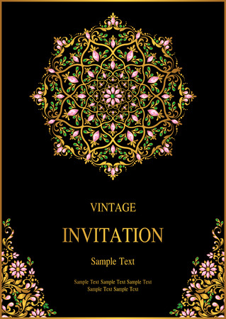 Wedding Invitation card templates with gold patterned and crystals on background color. 일러스트