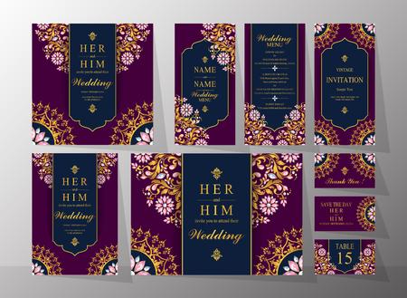 결혼식 초대 카드 템플릿 골드 패턴 및 배경색에 크리스탈. 일러스트