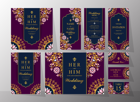 Wedding Invitation card templates with gold patterned and crystals on background color. Çizim