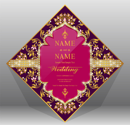 fiance: Wedding Invitation card templates with gold patterned and crystals on background color. Illustration