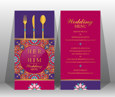 Wedding Reception Menu Template Stock Vector