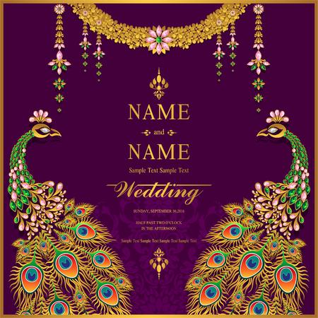 Plantillas de tarjeta de invitación de boda con oro con dibujos y cristales en color de fondo. Ilustración de vector