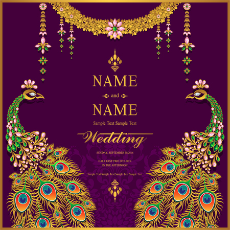 Wedding Invitation card templates with gold patterned and crystals on background color. Illusztráció