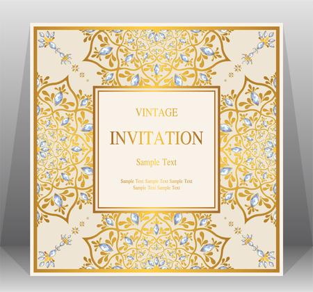 Bruiloft uitnodiging kaartsjablonen met goudpatroon en kristallen op achtergrondkleur. Stock Illustratie