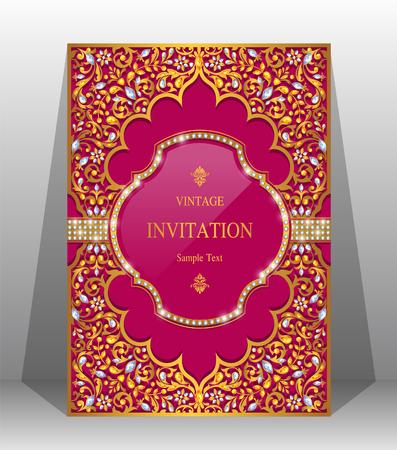 Plantillas de tarjeta de invitación de boda con oro con dibujos y cristales en color de fondo.