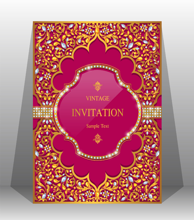 Wedding invitation card templates with gold patterned and crystals on background color. Reklamní fotografie - 89138180