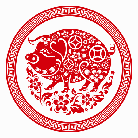 Happy chinese new year 2019 Zodiac sign with red paper cut art and craft style on color Background.(Chinese Translation : Year of the pig) Illustration