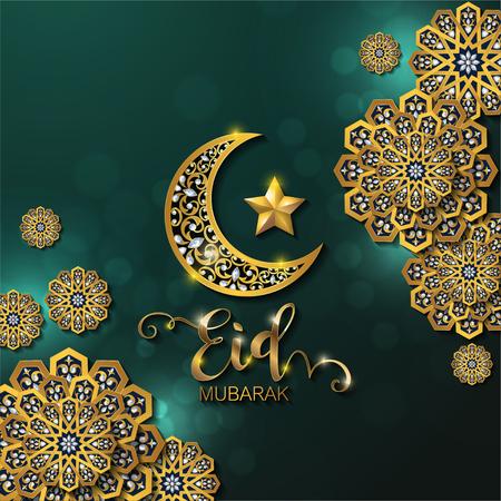 Fondo de saludo de Ramadán Kareem islámico con motivos dorados y cristales sobre fondo de color de papel.