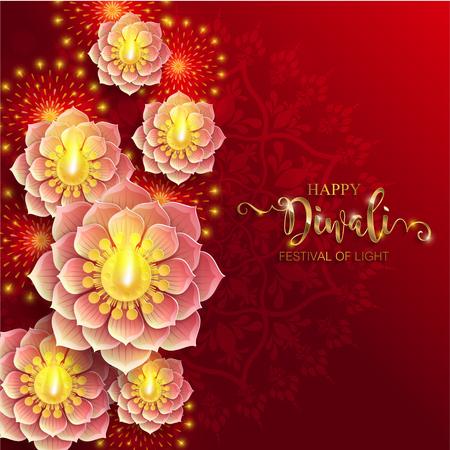 Carte de festival Happy Diwali avec diya or à motifs et cristaux sur fond de couleur papier
