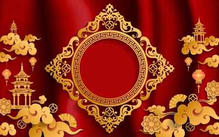 chinesische orientalische Hochzeit Einladungskartenschablonen mit schön gemustert auf Papierfarbe Hintergrund.