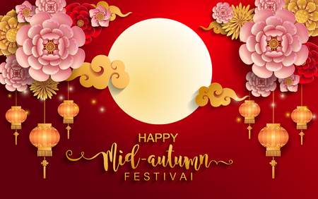 Mid Autumn Festival with paper cut art and craft style on color Background. Banco de Imagens - 103824297