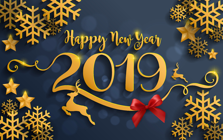 Merry Christmas And Happy New Year 2019 Background beautiful flower paper cut art and craft style on color Background.