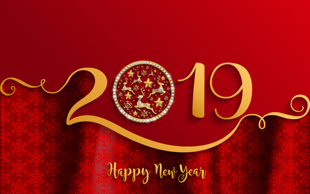 Merry Christmas And Happy New Year 2019 Background beautiful flower paper cut art and craft style on color Background. Reklamní fotografie - 103824300