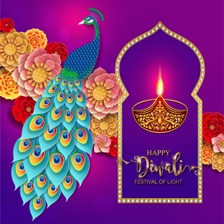 Happy Diwali festival card with gold diya patterned and crystals on paper color Background. Illusztráció