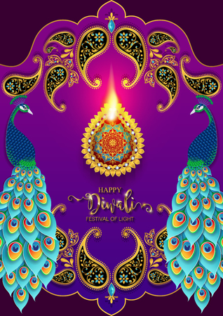 Happy Diwali festival card with gold diya patterned and crystals on paper color Background. Иллюстрация