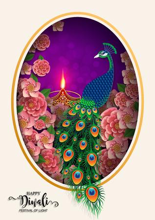 Happy Diwali festival card with gold diya patterned and crystals on paper color Background. Ilustração