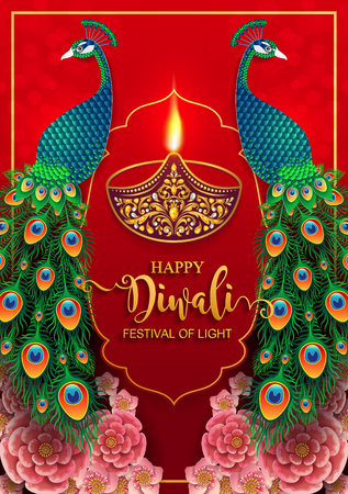Happy Diwali festival card with gold diya patterned and crystals on paper color Background.  イラスト・ベクター素材