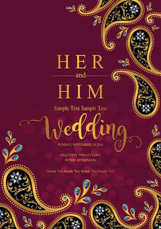 Modelli di carta di invito matrimonio indiano con fantasia oro e cristalli su sfondo di colore di carta. Vettoriali