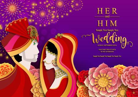 インドの結婚式の招待状のカードテンプレートは、紙の色の背景に金のパターンと結晶を持っています。