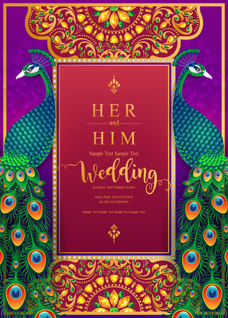 Indian wedding Invitation card templates with gold patterned and crystals on paper color Background. Фото со стока - 103824821