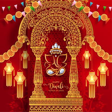 Gelukkige Diwali-festivalkaart met gouden diya-patroon en kristallen op document kleurenachtergrond.