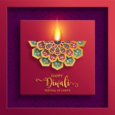Gelukkige Diwali-festivalkaart met gouden diya-patroon en kristallen op document kleurenachtergrond. Stockfoto - 109390282